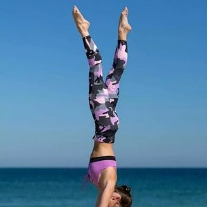 Pants - Pink Black Camouflage High Waisted Leggings Pants